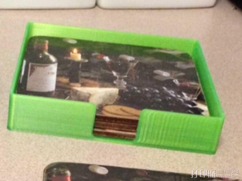 迷你杯垫收纳盒 3D模型  图2