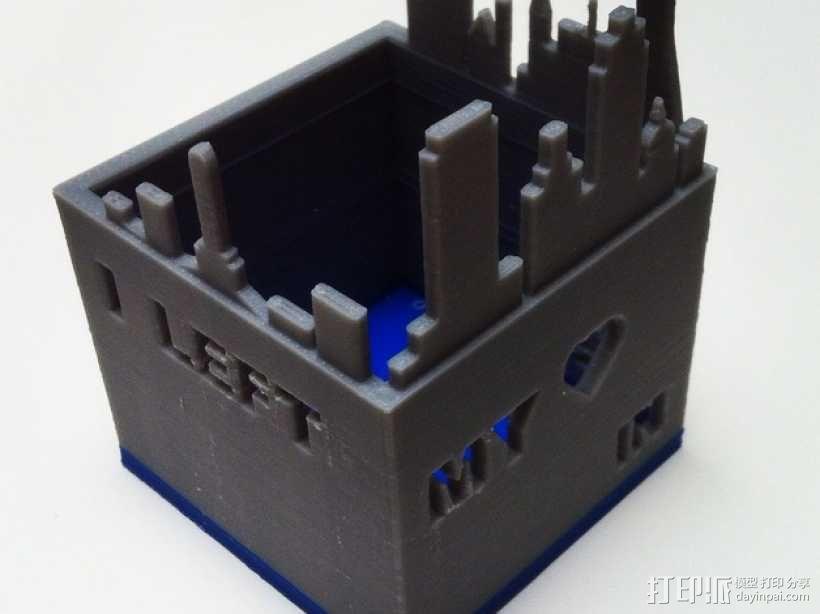 旧金山城市轮廓笔筒 3D模型  图1