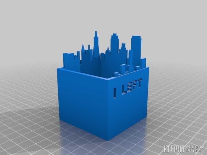 旧金山城市轮廓笔筒 3D模型  图2