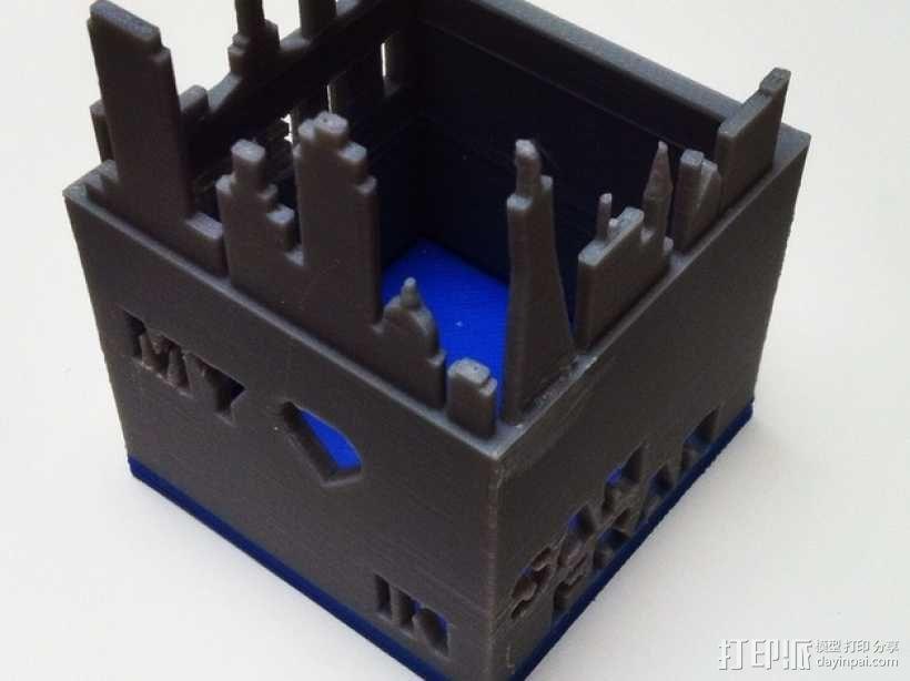 旧金山城市轮廓笔筒 3D模型  图3