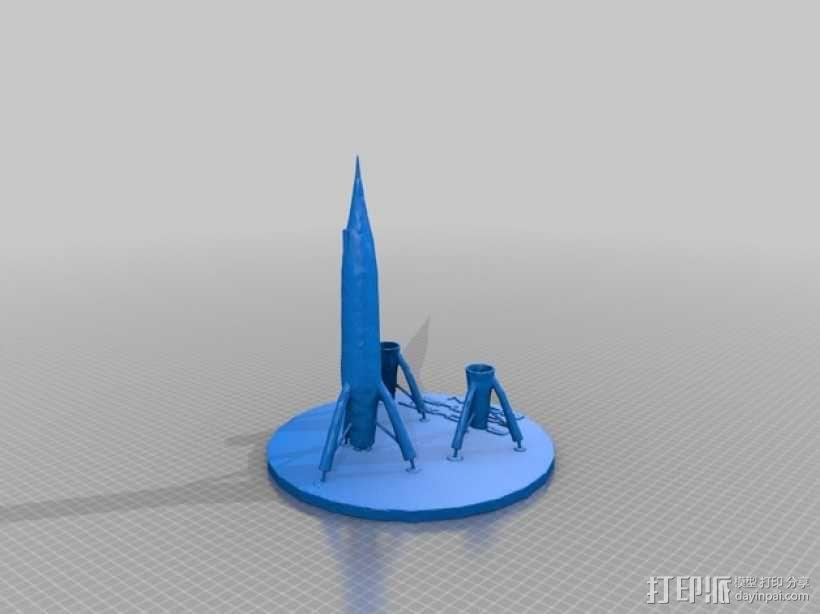 迷你火箭形笔筒 3D模型  图4