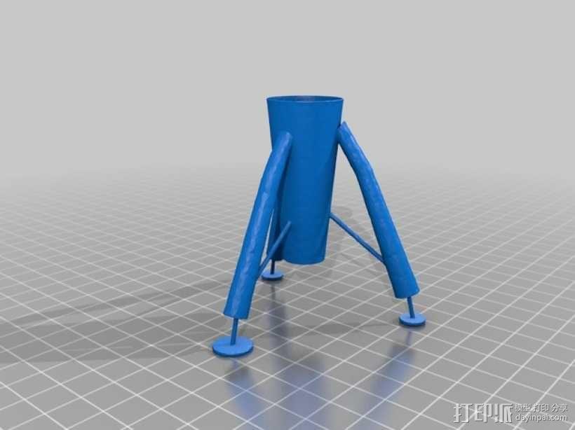 迷你火箭形笔筒 3D模型  图7