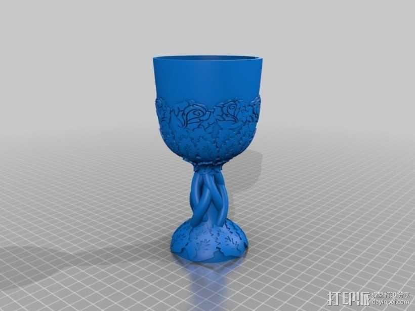 精美玫瑰酒杯 3D模型  图1