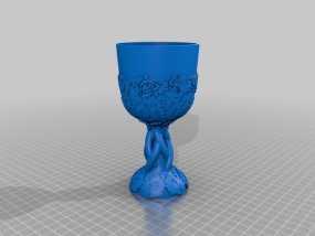 精美玫瑰酒杯 3D模型