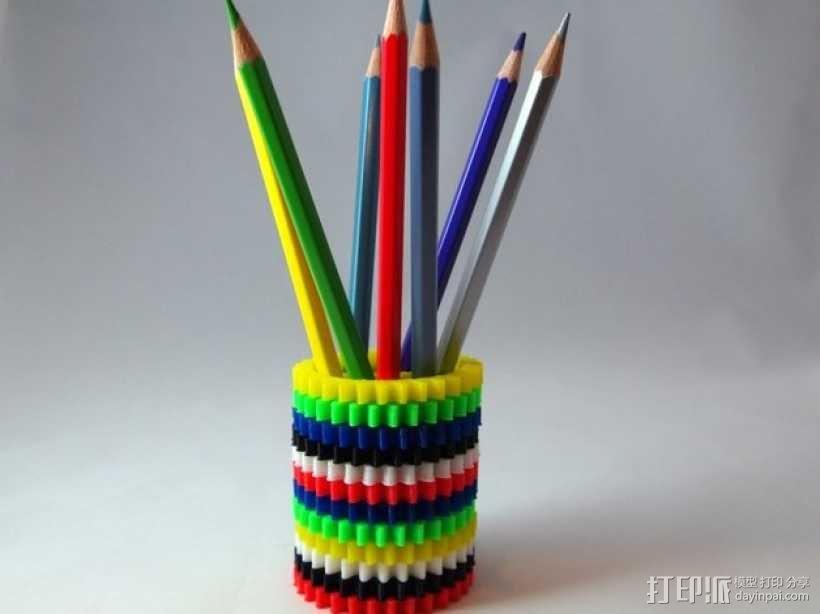 齿轮笔筒 3D模型  图1