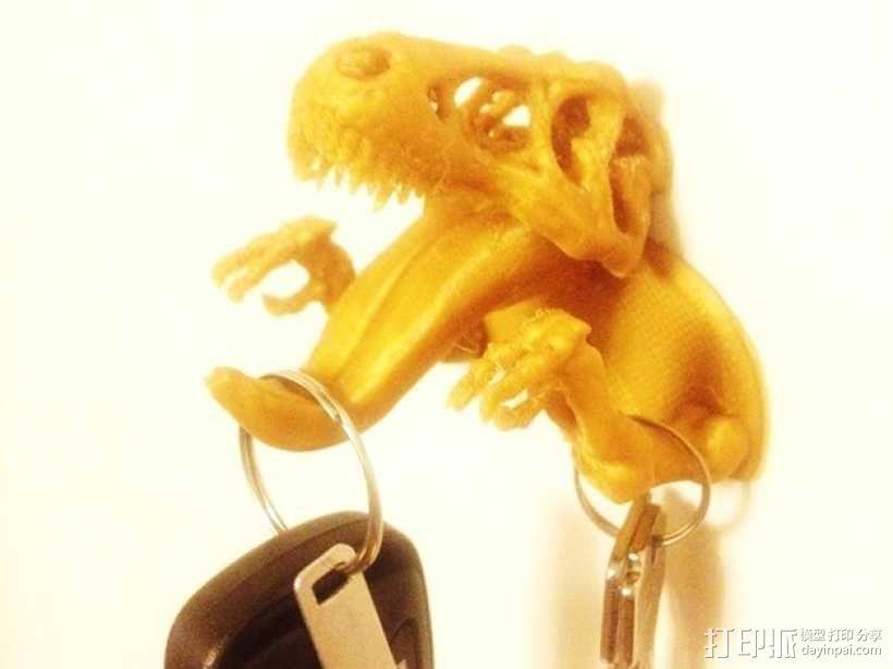 恐龙形钥匙挂钩 3D模型  图1