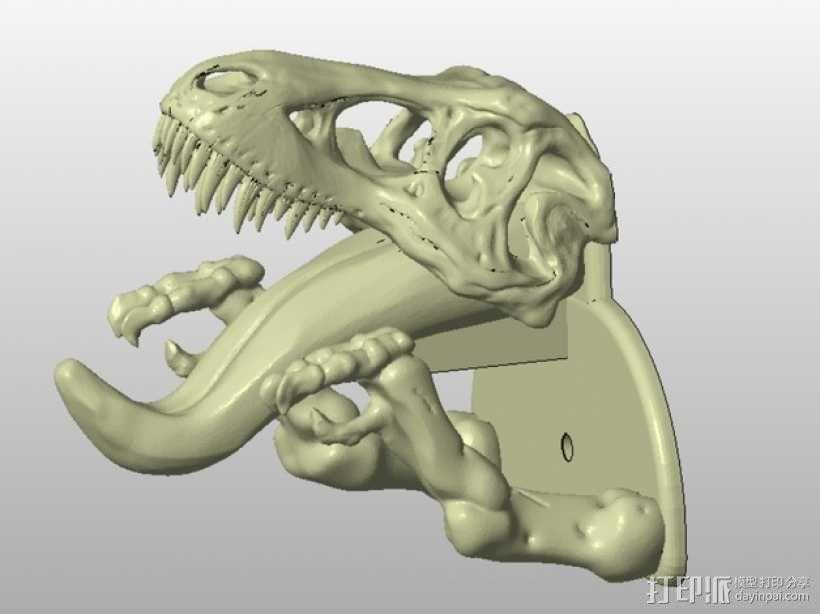 恐龙形钥匙挂钩 3D模型  图4