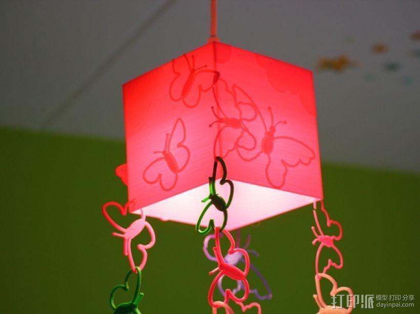 方形蝴蝶灯罩 3D模型  图1