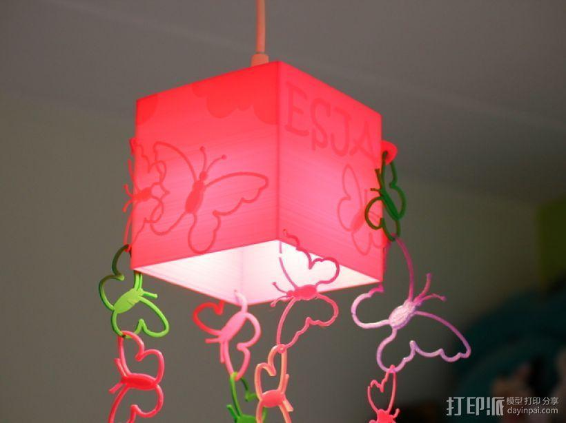 方形蝴蝶灯罩 3D模型  图2
