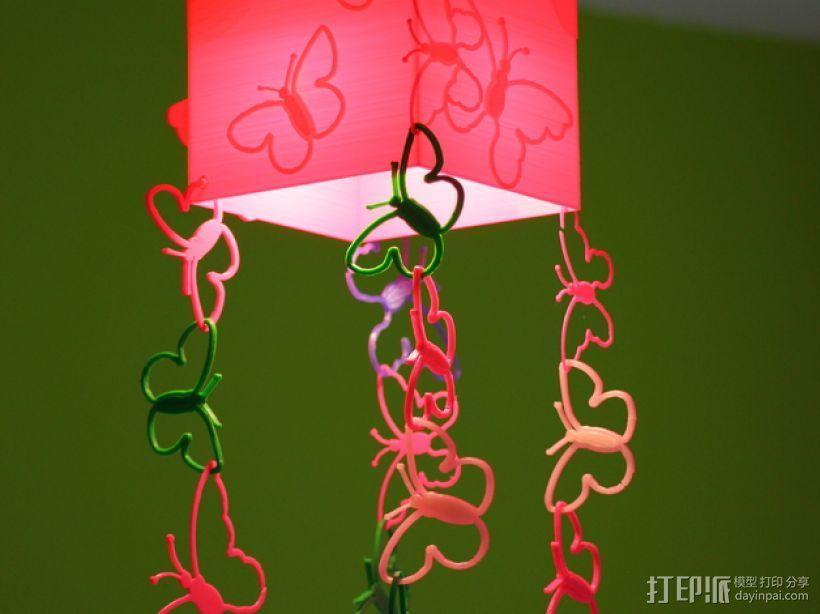 方形蝴蝶灯罩 3D模型  图5