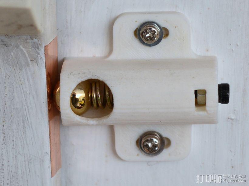 门/橱柜弹簧钢珠门闩 3D模型  图1
