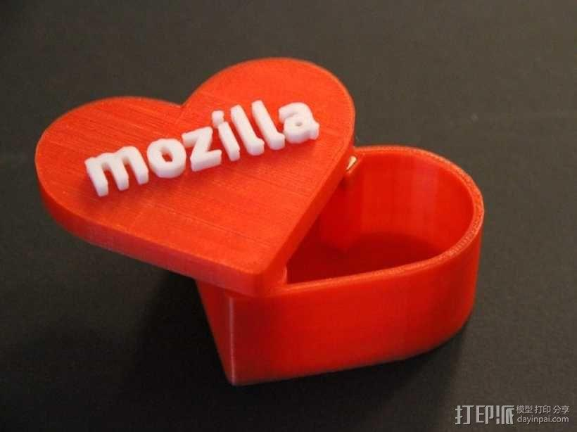 MozLove心形礼物盒 3D模型  图1