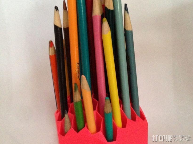 蜂巢形笔筒 3D模型  图1