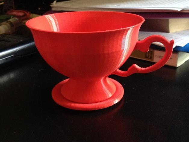 茶碗茶托 3D模型  图1