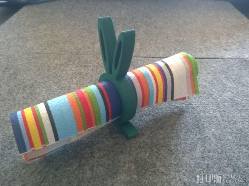 小兔餐巾圈 3D模型  图2