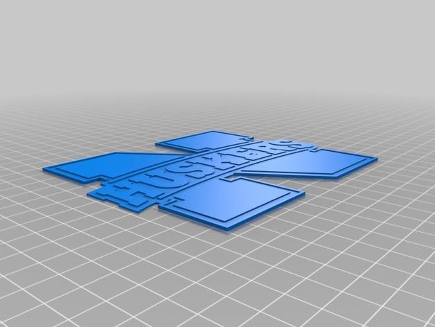 内布拉斯加州人logo 3D模型  图2