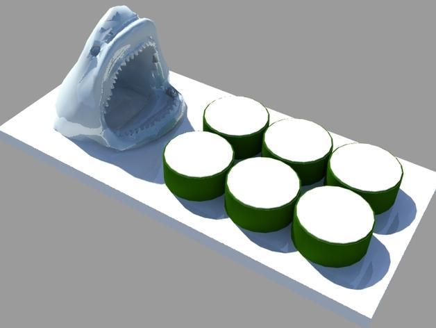 鲨鱼寿司盘 3D模型  图1