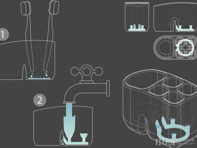 牙刷架 3D模型  图3