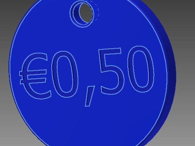 50欧元 钥匙扣 3D模型  图1