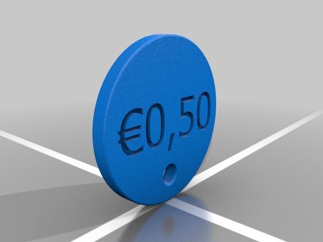 50欧元 钥匙扣 3D模型  图2