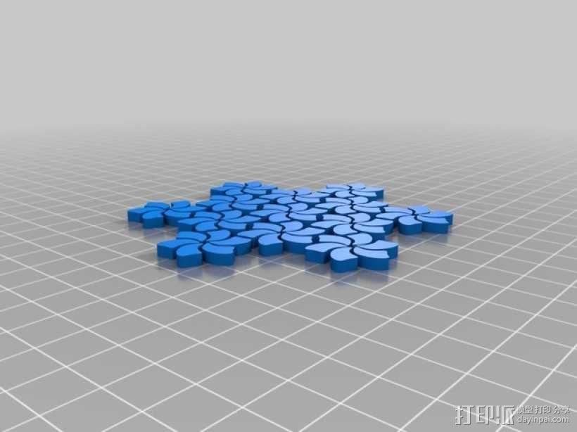 花纹托盘 3D模型  图3