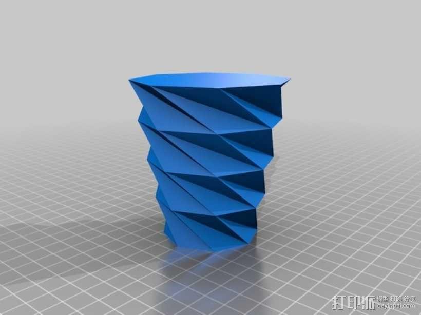 螺旋八边形花瓶 3D模型  图1