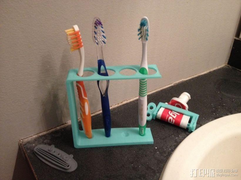 四孔牙刷架 3D模型  图1