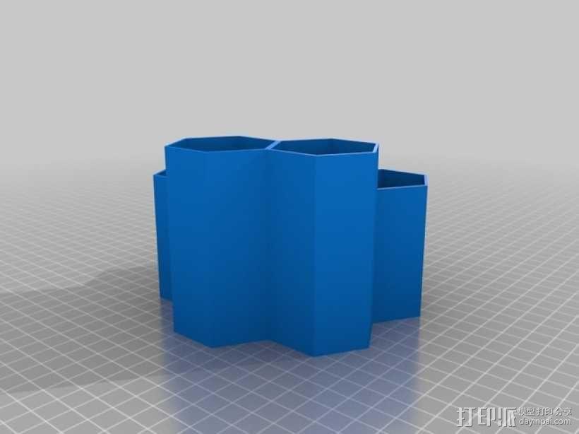 蜂巢形物品收纳盒 3D模型  图2
