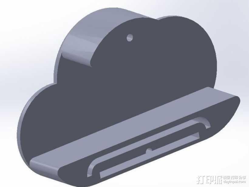 白云形磁力钥匙架 3D模型  图3