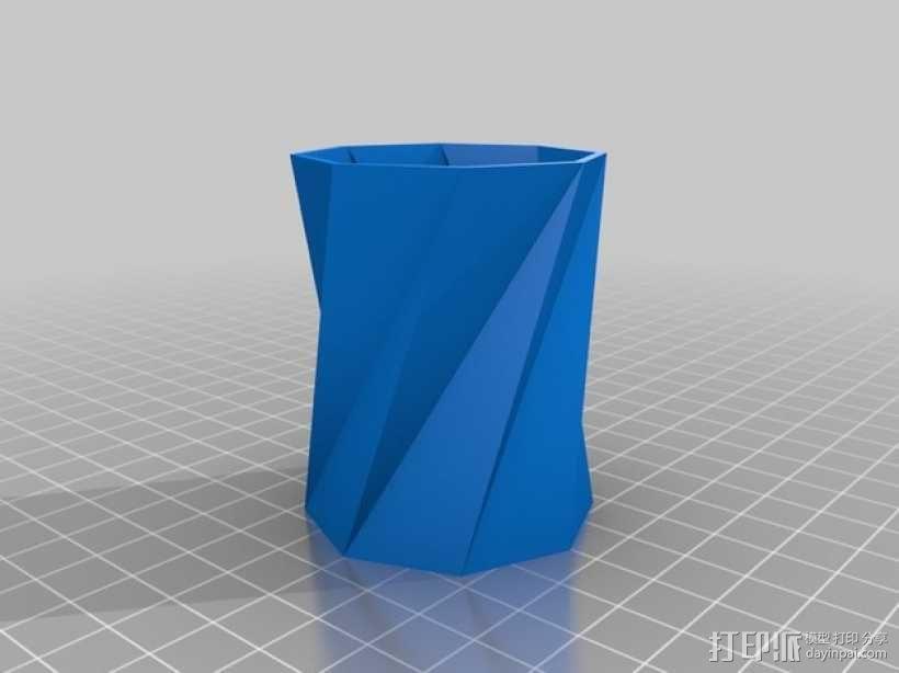 螺旋八边形水杯 3D模型  图1