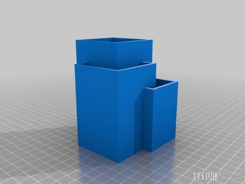 多层方形笔筒 3D模型  图1
