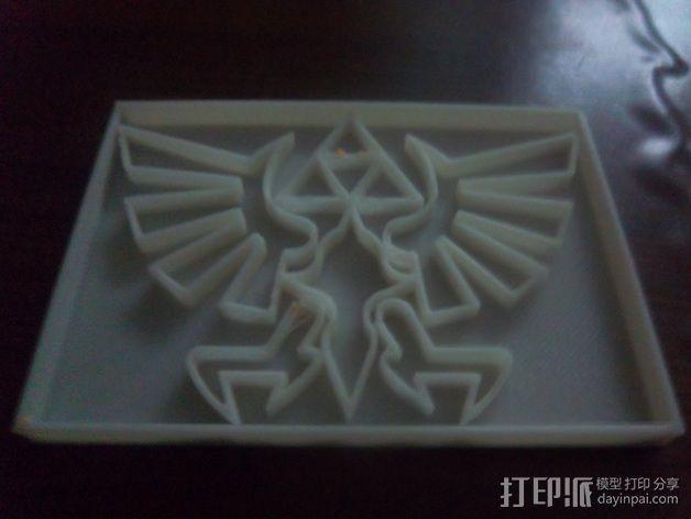 《塞尔达传说》标志 饼干制作模具 3D模型  图1