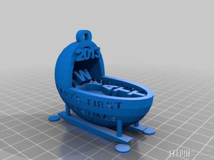 婴儿摇篮装饰品 3D模型  图1