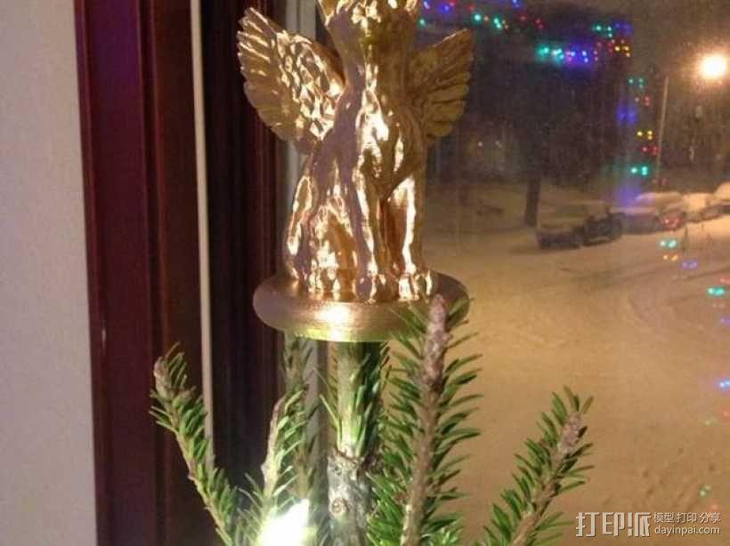 小猫圣诞树树顶装饰品 3D模型  图7