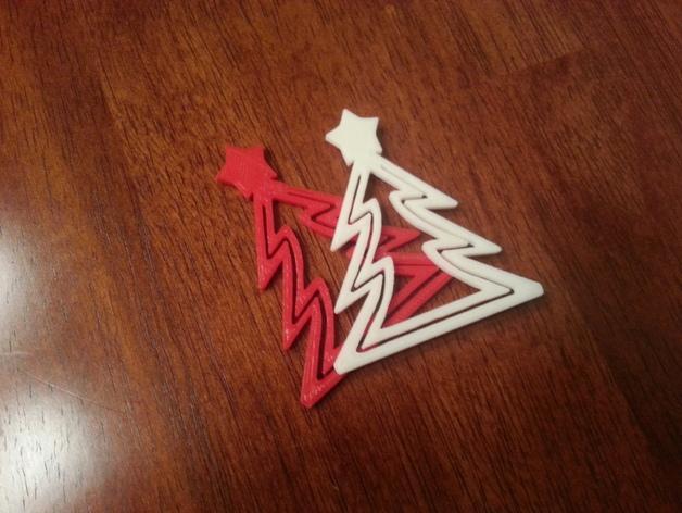 圣诞树形书签 3D模型  图2