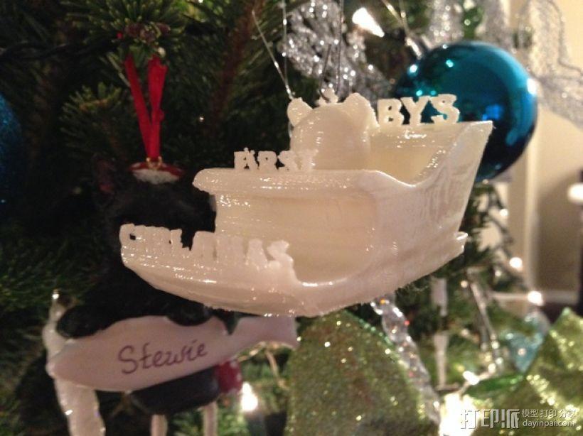 雪橇形圣诞装饰品 3D模型  图1