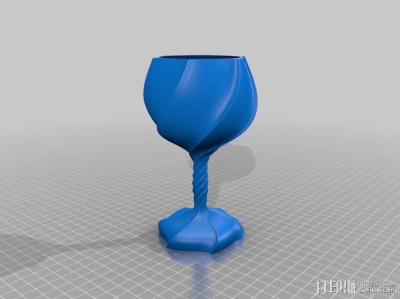 螺旋高脚杯/酒杯 3D模型  图1