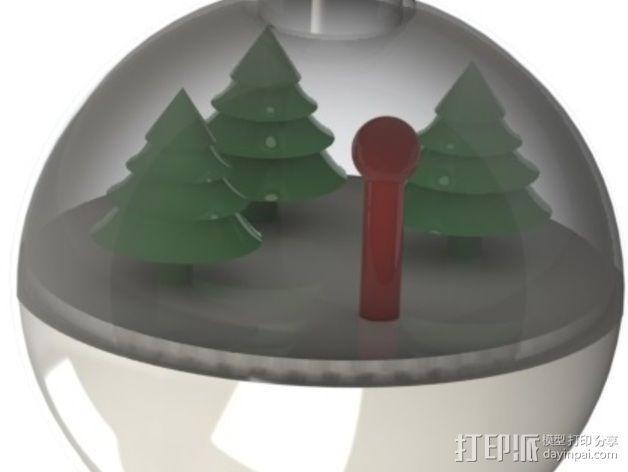 雪景球/雪花玻璃球 装饰品 3D模型  图3
