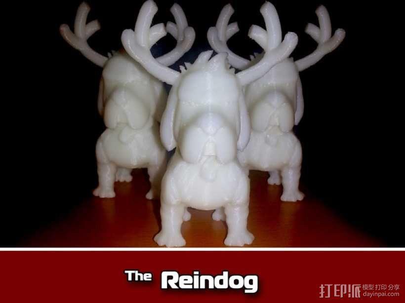 鹿角 狗 装饰品 3D模型  图1