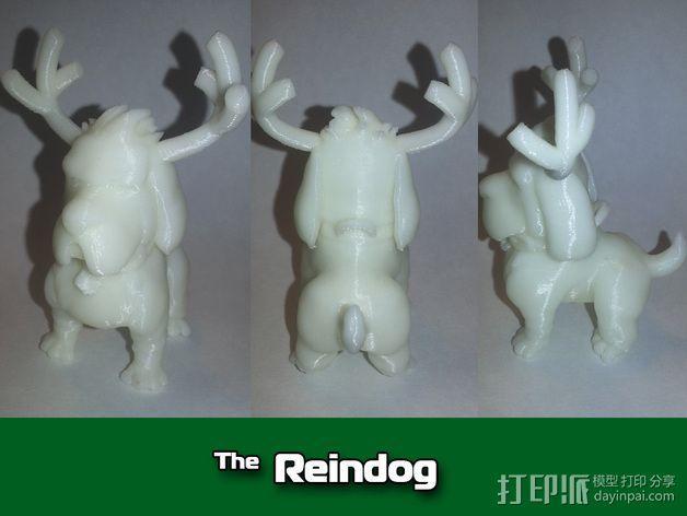 鹿角 狗 装饰品 3D模型  图2