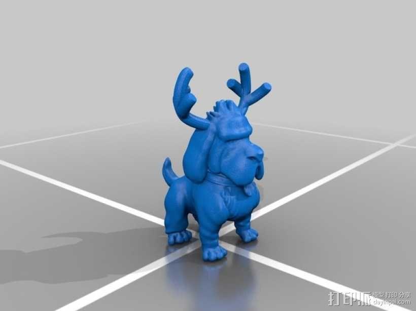 鹿角 狗 装饰品 3D模型  图4