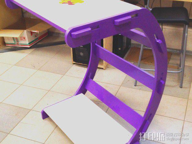 C字形电脑桌 3D模型  图3