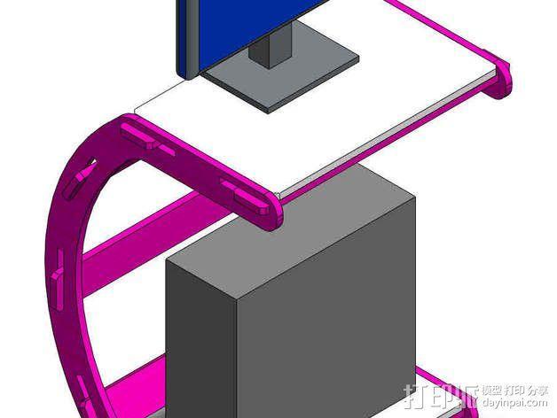 C字形电脑桌 3D模型  图6