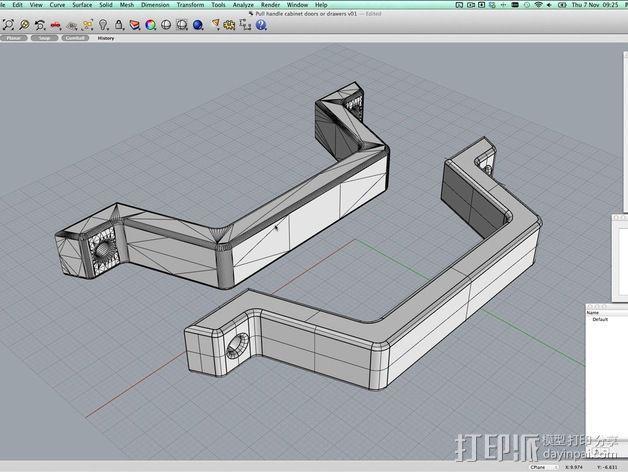 抽屉/橱柜门把手 3D模型  图3