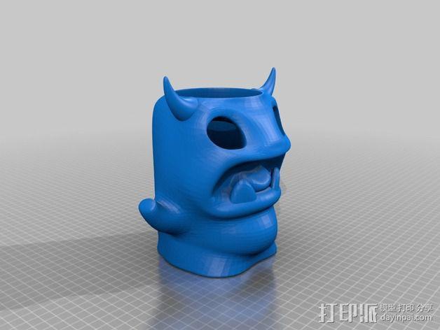 小怪兽笔筒 3D模型  图2