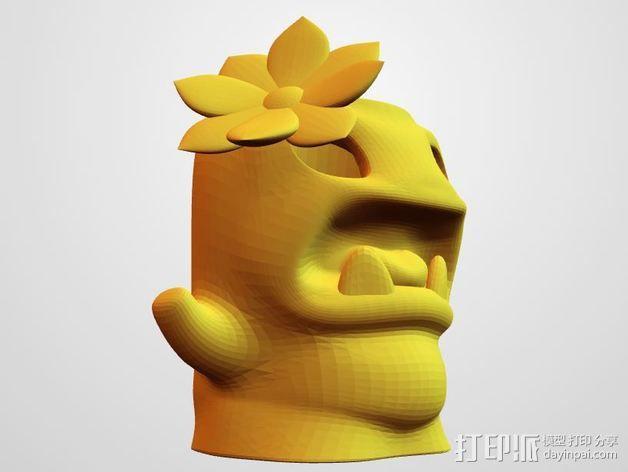 装饰花 小怪兽笔筒 3D模型  图2