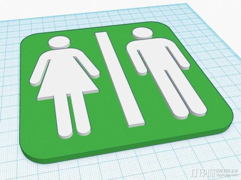 厕所标志 3D模型  图1