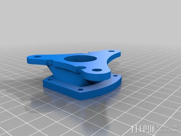 E-Rod机动窗帘杆马达接合器片和支架 3D模型  图1
