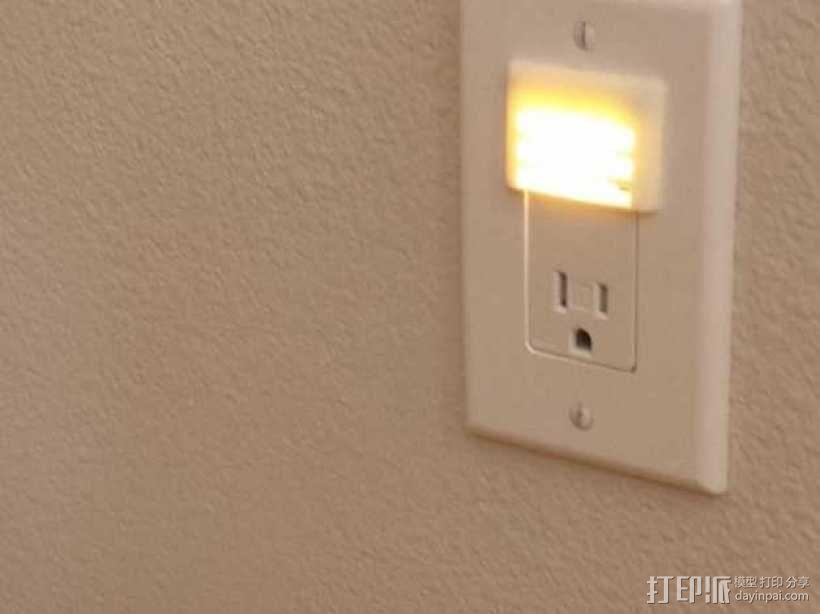 带LED灯的插座面板 3D模型  图1