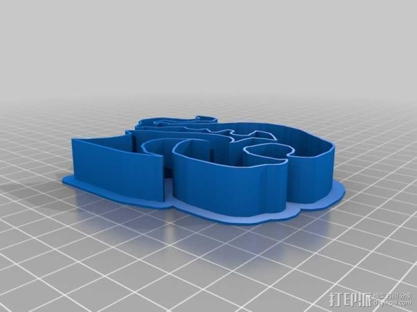 龙饼干模具 3D模型  图1